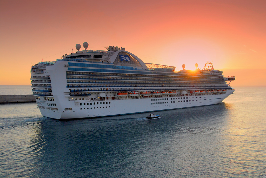MS Emerald Princess in the Sunset