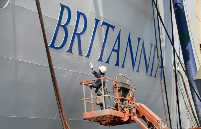The Queen Arrives in Southampton to Name Britannia