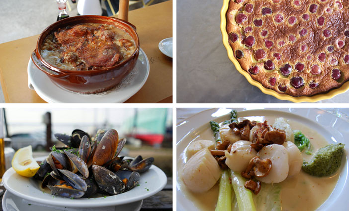 French cuisine - Clafoutis, Moules, Coquilles Saint-Jacques and Cassoulet. Flickr Creative Commons:  Isabelle Hurbain-Palatin,  Ben Brown,   francois schnell and  Jonathan Caves.