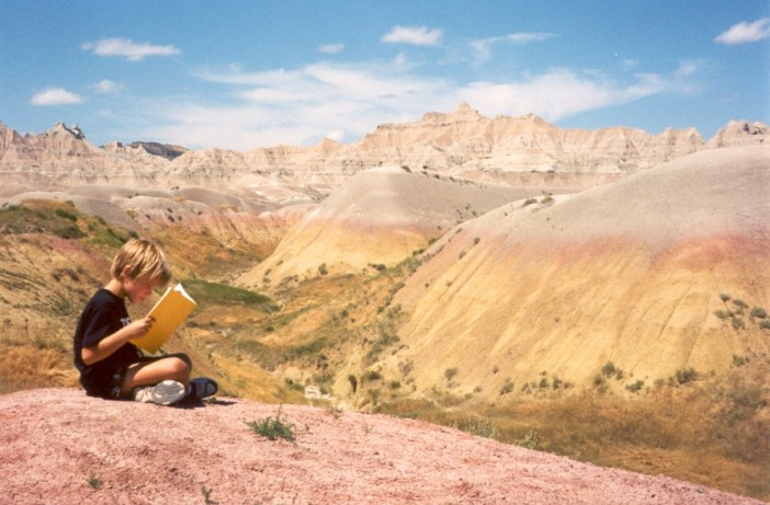 Sam Reading in Badlands