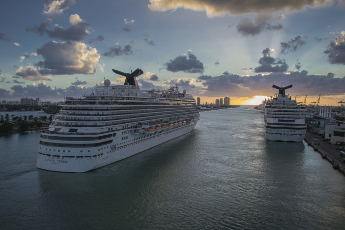 Carnival Breeze and Carnival Splendor Port Miami Sunrise