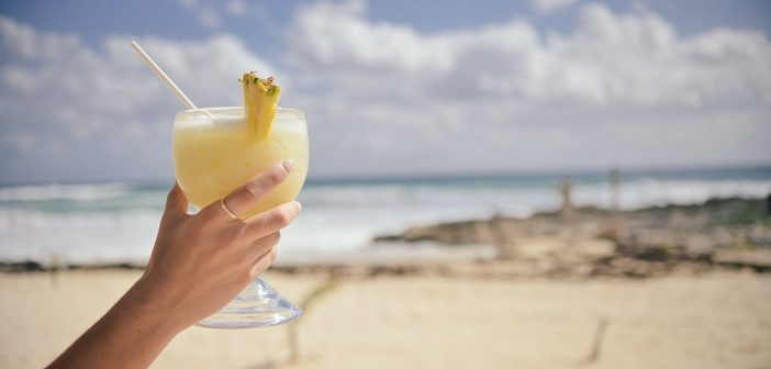 A cocktail on a beach