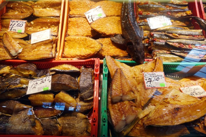 Riga Central Market smoked fish variety