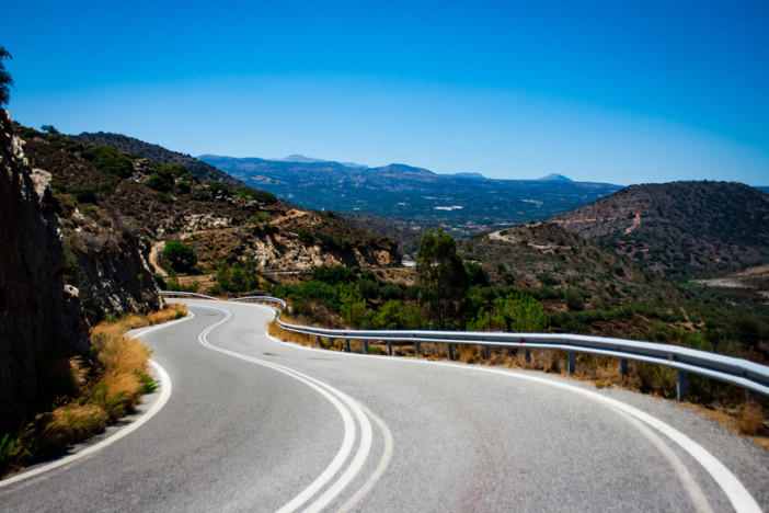 country road drive in greece