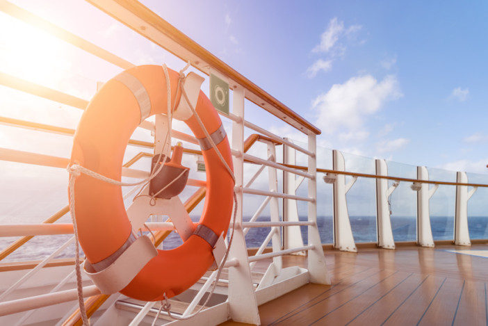 Cruise ship upper deck in sunny day