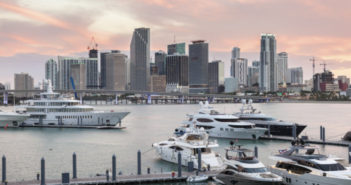 Skyline of Miami downtown at dusk. Florida, United States