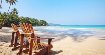summer tropical holidays, beach hotel in sunny day, vacations on paradise island, background with place for text