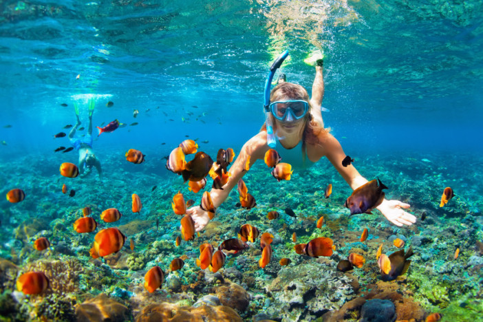 couple in snorkeling masks dive deep underwater with tropical fishes in coral reef sea pool. Travel lifestyle, outdoor water sport adventure, swimming lessons on summer beach holiday