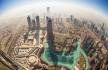 Aerial view of Downtown Dubai from the tallest building in the world, Burj Khalifa, Dubai, United Arab Emirates.