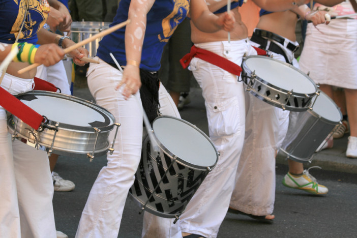 Musicians playing Samba drums