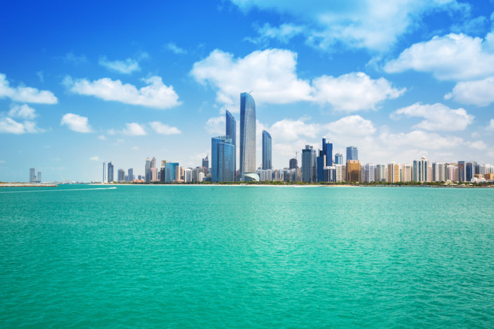 Cityscape of Abu Dhabi at Persian Gulf, UAE