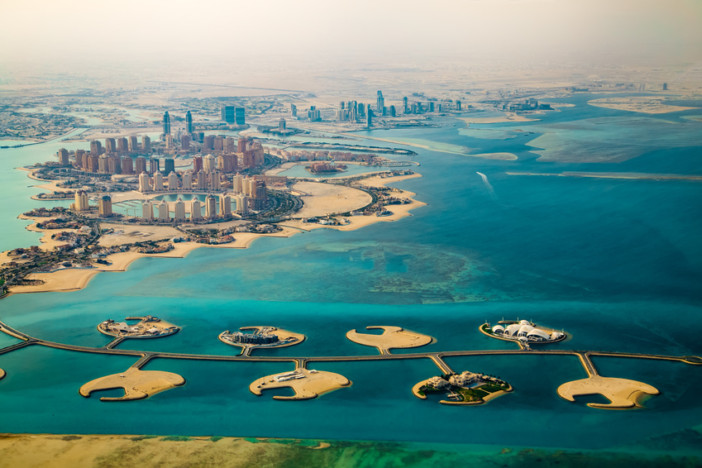 Aerial view of city Doha, capital of Qatar