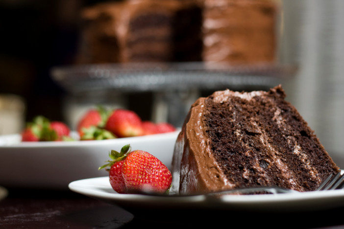 Close up of a piece of chocolate layer cake