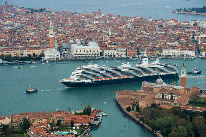 Aerial image of Holland America's MS Koningsdam in Venice