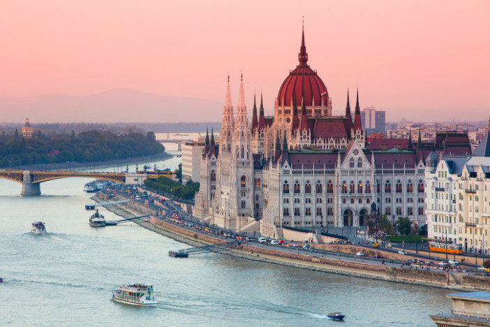 Hungarian parliament in sunset.