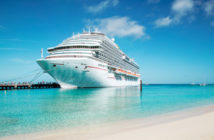 Cruise ship on clear blue waters