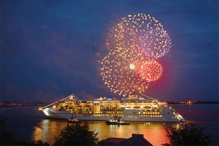 fire works on board sailing ship