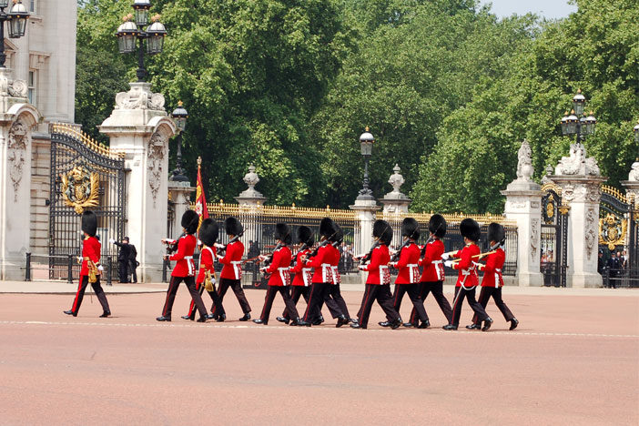 London guards on march parade