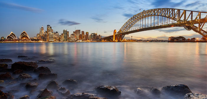 A bridge across water with stepping stones in Sydney