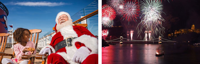 A child sitting on a bench beside Santa Claus/ Firework on the sea