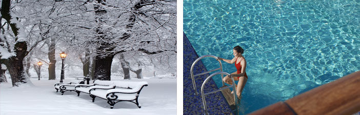 Trees and chair covered in snow/ A lady coming out of a pool